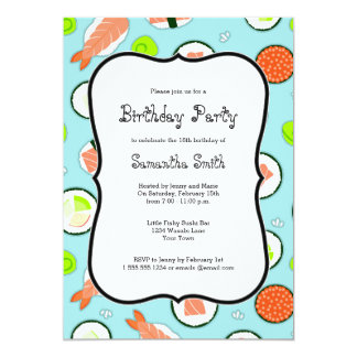 Blue Sushi Theme Birthday Party Card
