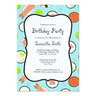 Blue Sushi Theme Birthday Party Card