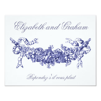 Blue Swag Wedding RSVP French Style Card