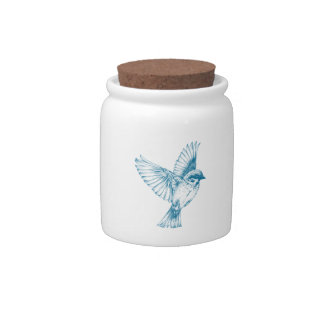 Blue Swallow Candy Dish