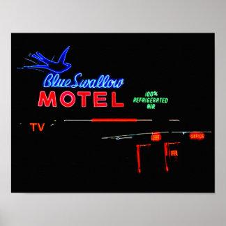 Blue Swallow Motel Neon Sign, Tucumcari, N.M. Poster