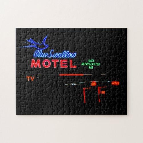 Blue Swallow Motel Sign, Route 66, Tucumcari, N.M. Jigsaw Puzzle