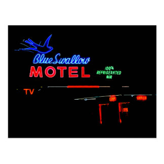 Blue Swallow Motel Sign, Tucumcari, New Mexico Postcard