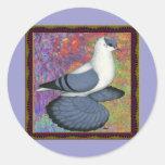 Blue Swallow Pigeon Framed Round Sticker