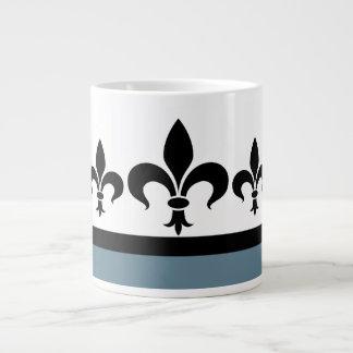 Blue Swanky Fleur De Lis Jumbo Mug
