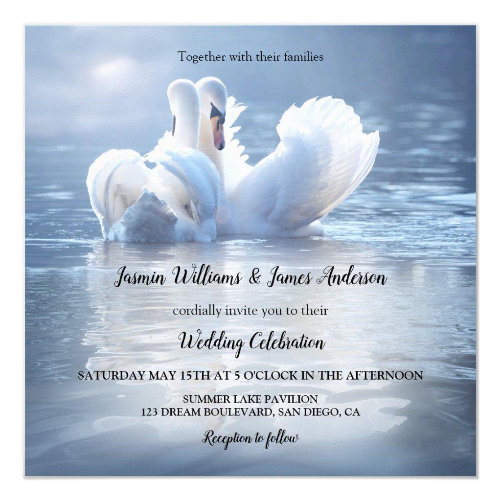 Blue Swans Lake Wedding Invitation