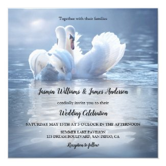 Blue Swans Lake Wedding Invitation