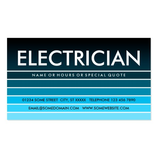 blue swatch ELECTRICIAN Business Cards