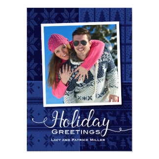 Blue Sweater Holiday Greetings Photo Card