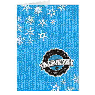 Blue sweater snowflakes knitting crochet Christmas Card