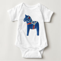Blue Swedish Dala Horse Baby Bodysuit