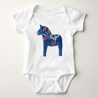 Blue Swedish Dala Horse Baby Bodysuit