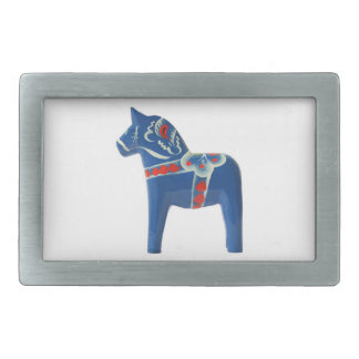 Blue Swedish Dala Horse Rectangular Belt Buckle
