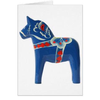 Blue Swedish Dala Horse Card