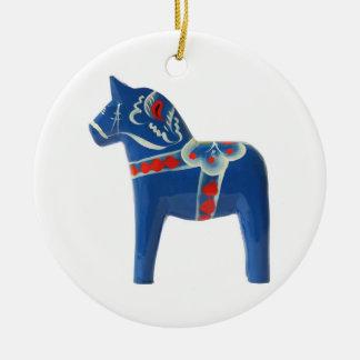 Blue Swedish Dala Horse Ceramic Ornament