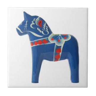 Blue Swedish Dala Horse Ceramic Tile