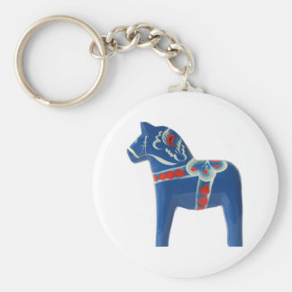Blue Swedish Dala Horse Keychain