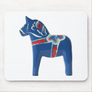 Blue Swedish Dala Horse Mouse Pad