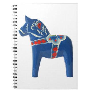 Blue Swedish Dala Horse Notebook