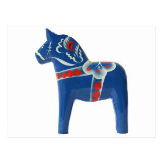 Blue Swedish Dala Horse Postcard