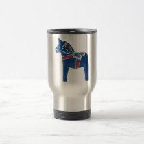 Blue Swedish Dala Horse Travel Mug