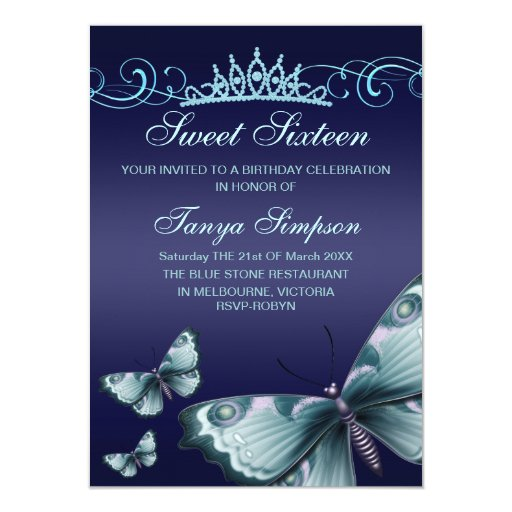 Blue Sweet16 Butterfly & Tiara Birthday Invite