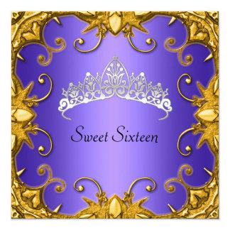 Blue Sweet 16 Birthday Party Gold White Tiara Card