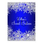 Blue Sweet 16 Snowflake Winter Wonderland Card