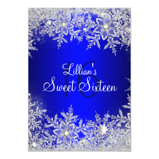 Blue Sweet 16 Snowflake Winter Wonderland Card