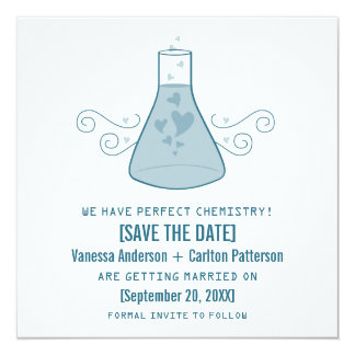 Blue Sweet Chemistry Save the Date Invite