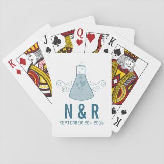 Blue Sweet Chemistry Wedding Playing Cards