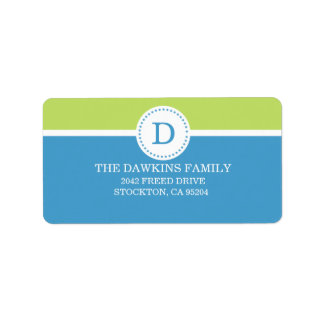Blue Sweet Monogram Custom Monogrammed Family Label