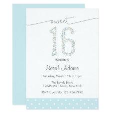 Blue Sweet Sixteen Birthday Invitation