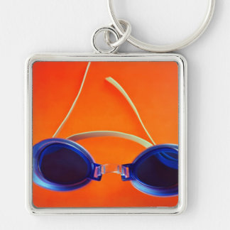 Blue Swimming Goggles on Orange Keychain