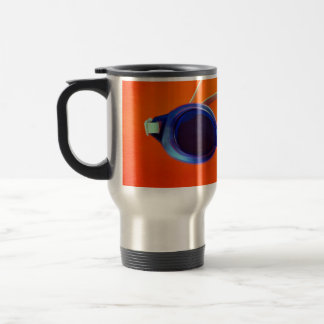 Blue Swimming Goggles on Orange Travel Mug