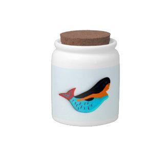 blue swimming mermaid candy jar