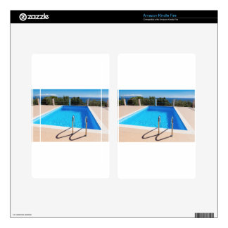 Blue swimming pool with steps at sea decals for kindle fire