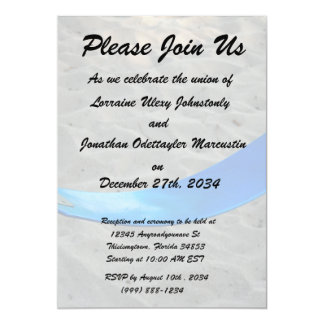 blue swing against sand swingset playground 5x7 paper invitation card