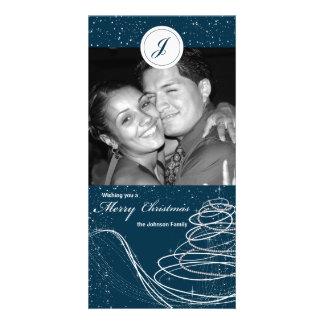 Blue Swirl and Stars Xmas Tree Holiday Photocard Customized Photo Card