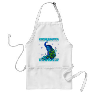 Blue swirl Border and Peacock Design Adult Apron