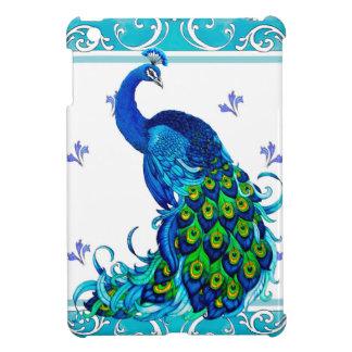 Blue swirl Border and Peacock Design Case For The iPad Mini