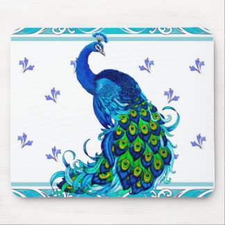 Blue swirl Border and Peacock Design Mouse Pad