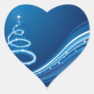 Blue Swirl Christmas Tree Heart Sticker