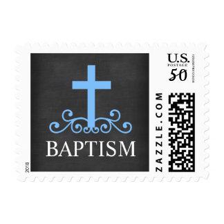 Blue Swirl Cross Chalkboard Baptism Postage