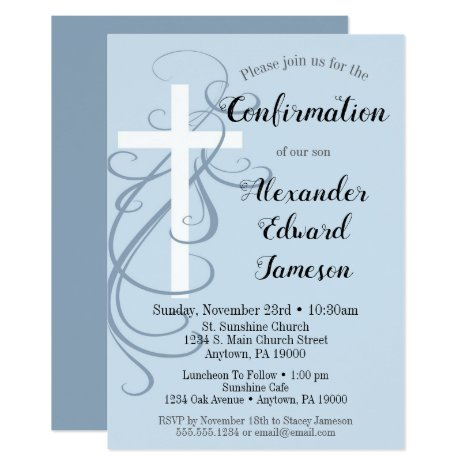 Blue Swirl Cross Confirmation Invitation Boy's