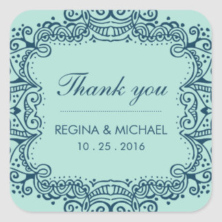 Blue Swirl Curl Wedding Favor Thank You Sticker