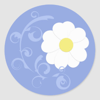 Blue Swirl Daisy Sticker