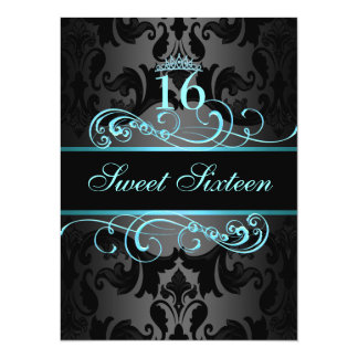 Blue Swirl Damask Sweet16 Birthday Invite