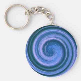 Blue Swirl in the Round Keychains