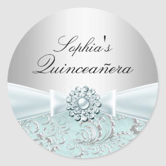 Blue Swirl & Jewel Bow Quinceanera Sticker
